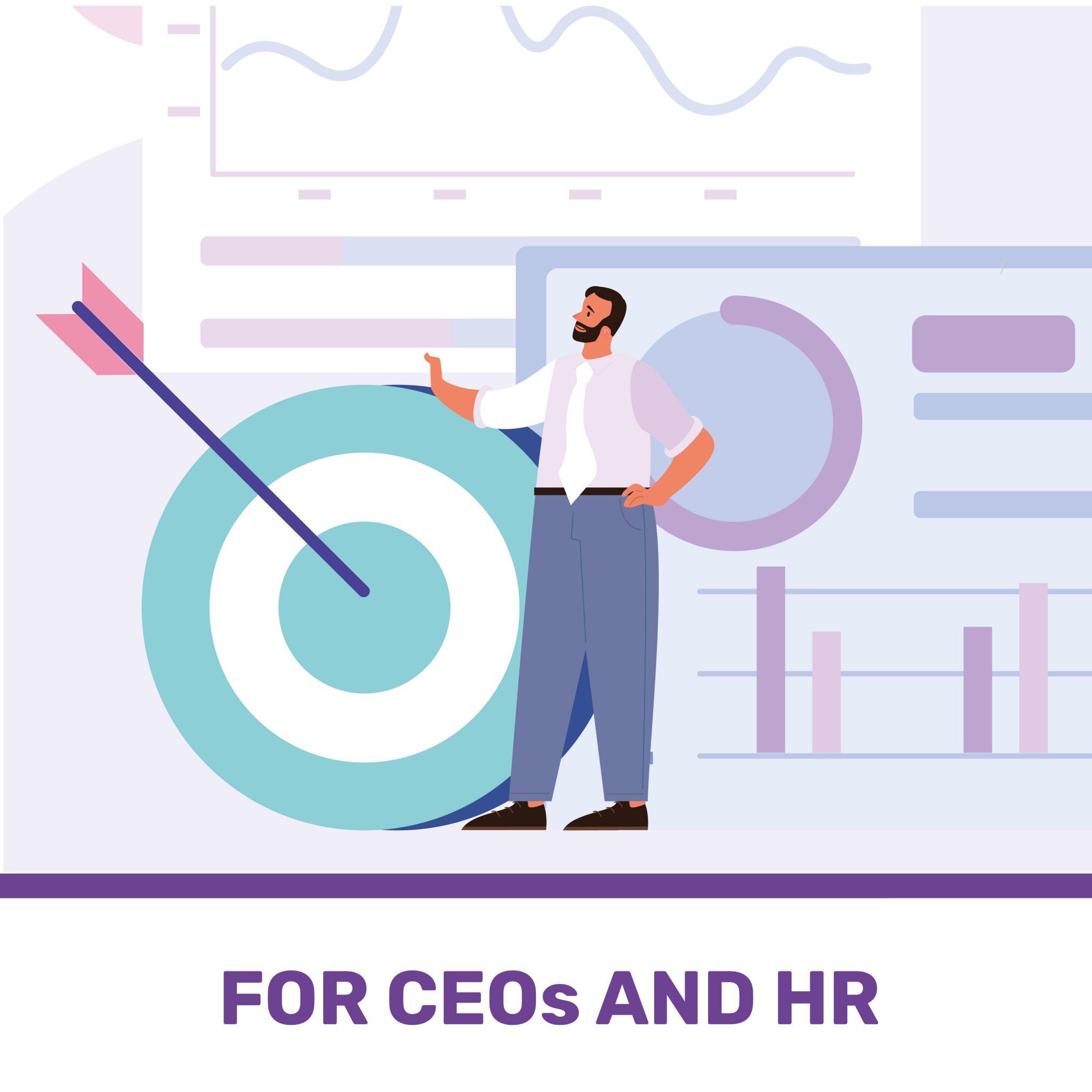 disegno di un manager con team analytics sullo sfondo